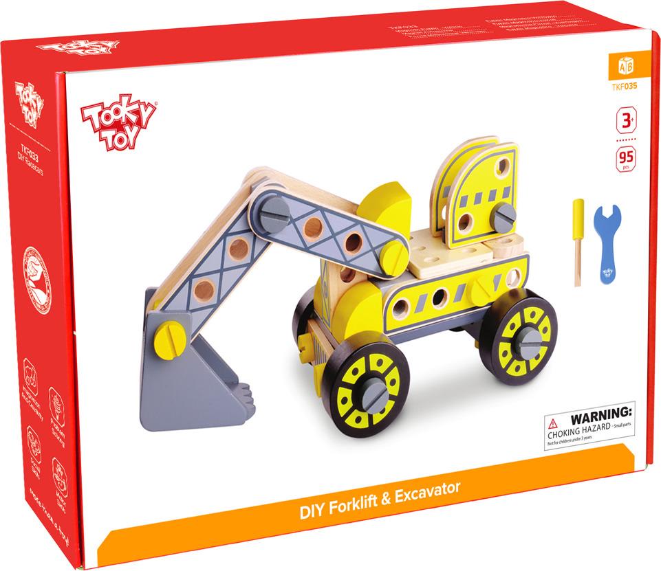 """Конструктор деревянный Tooky Toy """"Экскаватор"""", TKF035, желтый"""