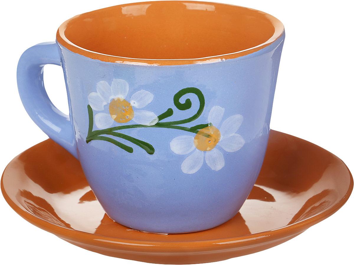 """Чайная пара Борисовская керамика """"Cтандарт"""", цвет: голубой, коричневый, 2 предмета"""