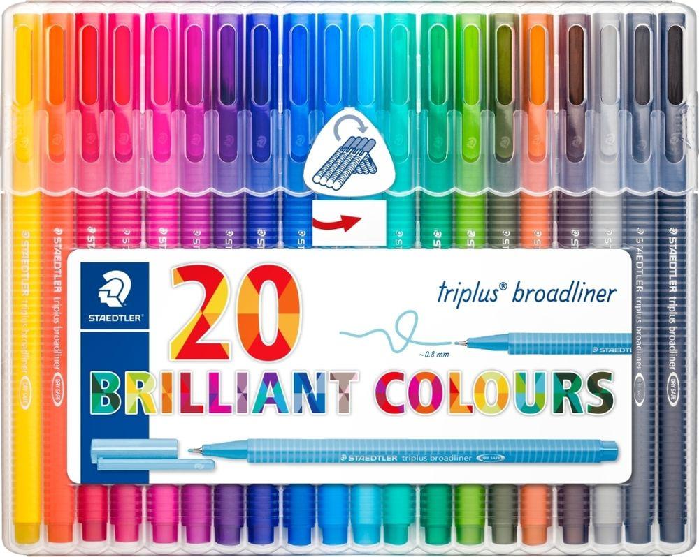 Набор капиллярных ручек Staedtler Triplus Broadliner  Яркие цвета , 338SB20, 0,8 мм, 20 цветов