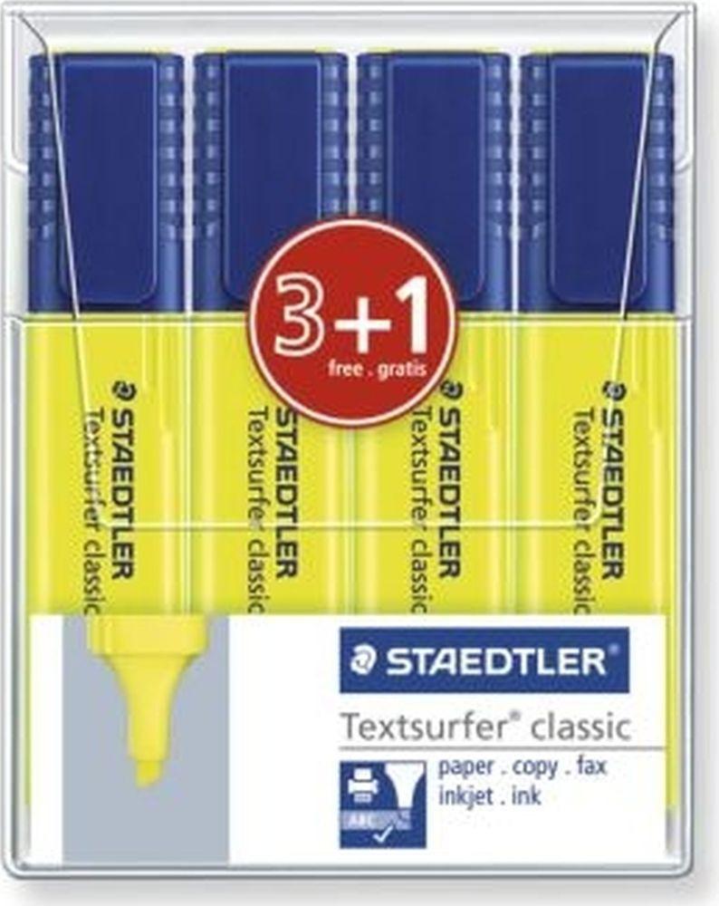 Набор текстовыделителей Staedtler Classic, 364-1WP4P, 1-5 мм, желтый, 3 шт + маркер, 364-1WP4P