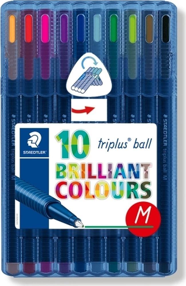 Набор шариковых ручек Staedtler Triplus Ball Яркие цвета, 437MSB10, 0,5 мм, 10 цветов набор шариковых ручек staedtler triplus ball яркие цвета 437msb4 0 5 мм 4 цвета