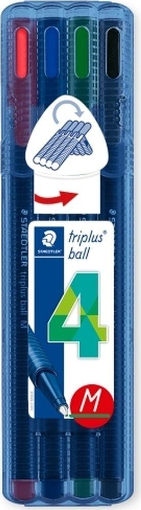 Набор шариковых ручек Staedtler Triplus Ball Яркие цвета, 437MSB4, 0,5 мм, 4 цвета набор шариковых ручек staedtler triplus ball яркие цвета 437msb4 0 5 мм 4 цвета