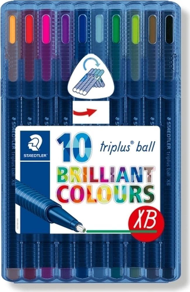 Набор шариковых ручек Staedtler Triplus Ball Яркие цвета, 437XBSB10, 0,7 мм, 10 цветов набор шариковых ручек staedtler triplus ball яркие цвета 437msb4 0 5 мм 4 цвета