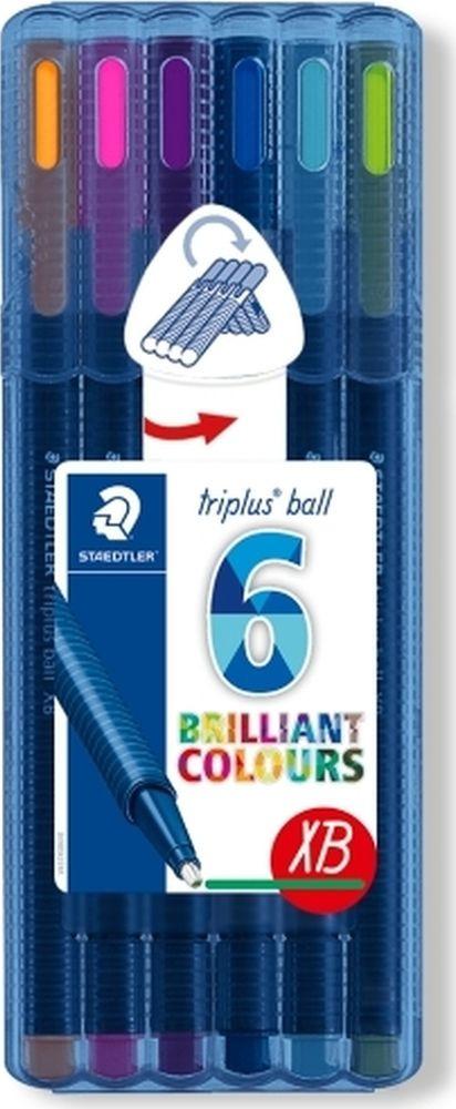 Набор шариковых ручек Staedtler Triplus Ball Яркие цвета, 437XBSB6, 0,7 мм, 6 цветов набор шариковых ручек staedtler triplus ball яркие цвета 437msb4 0 5 мм 4 цвета