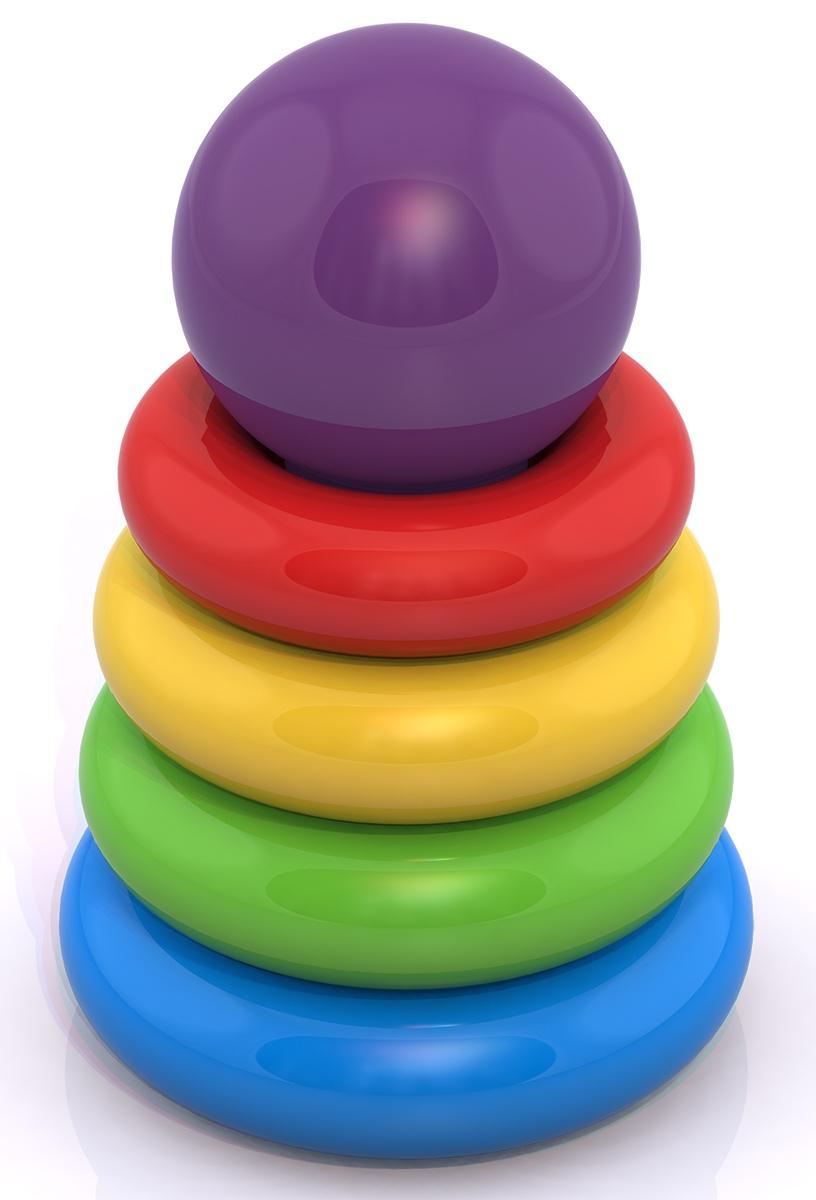 """Пирамидка Нордпласт """"Мини"""", 409/, красный, желтый, зеленый, 16,5 x 11 x 11 см"""