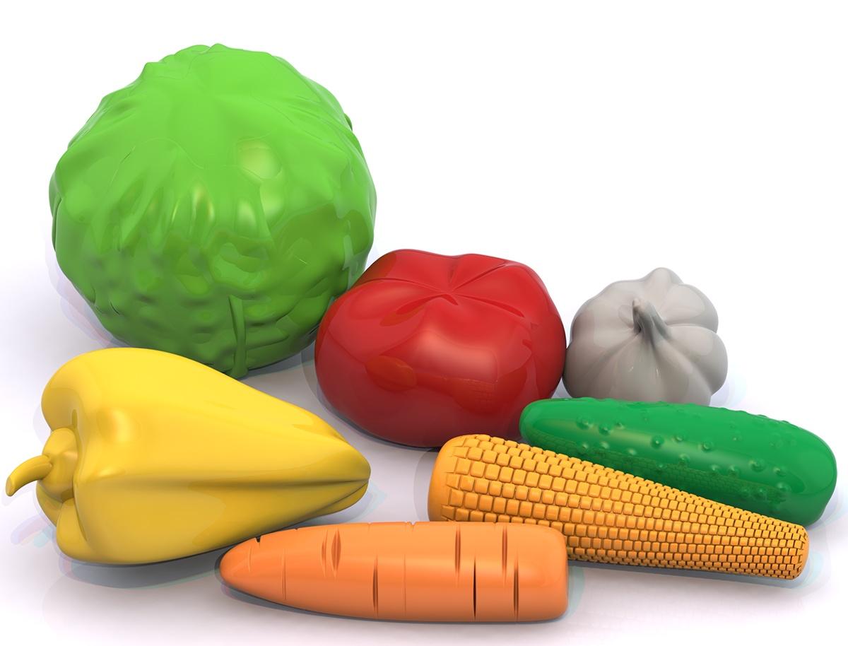 """Набор Нордпласт Barbie """"Овощи"""", 446, зеленый, желтый, красный, 7 предметов"""