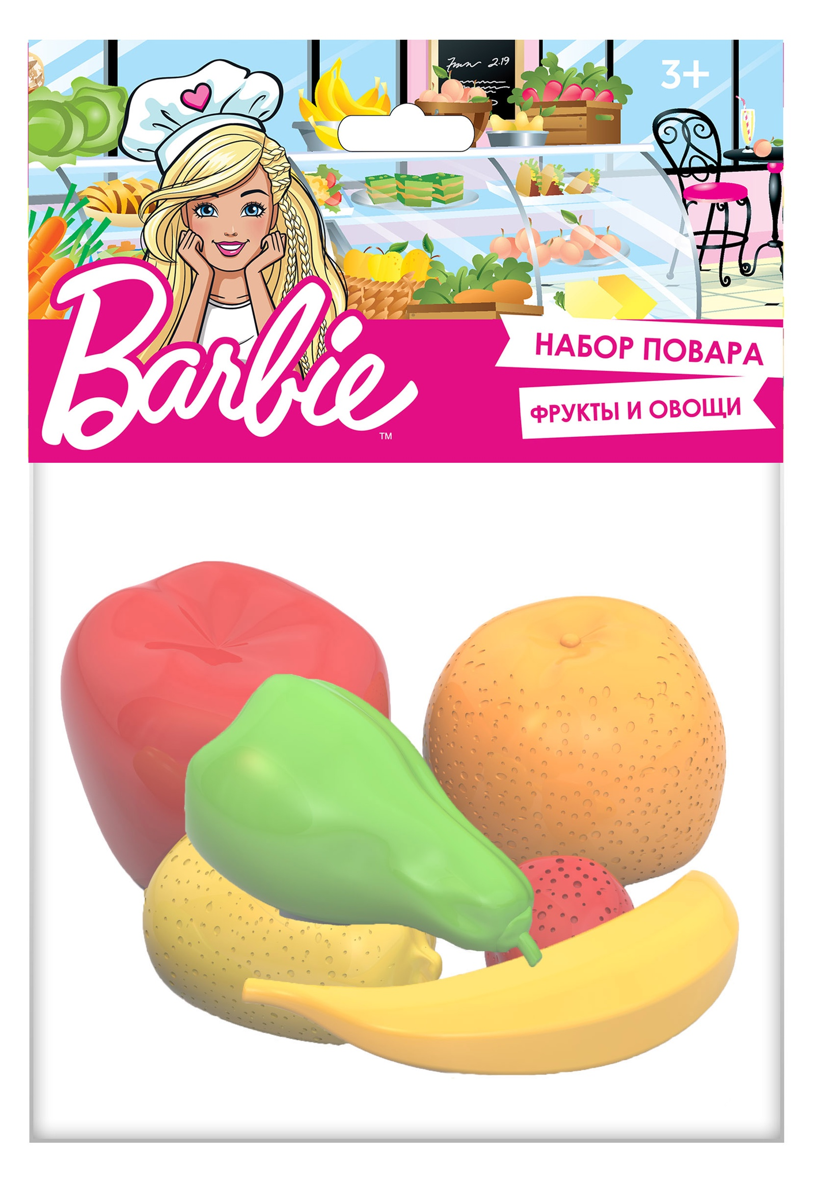 """Набор Нордпласт Barbie """"Фрукты"""", 445, зеленый, желтый, красный, 6 предметов"""
