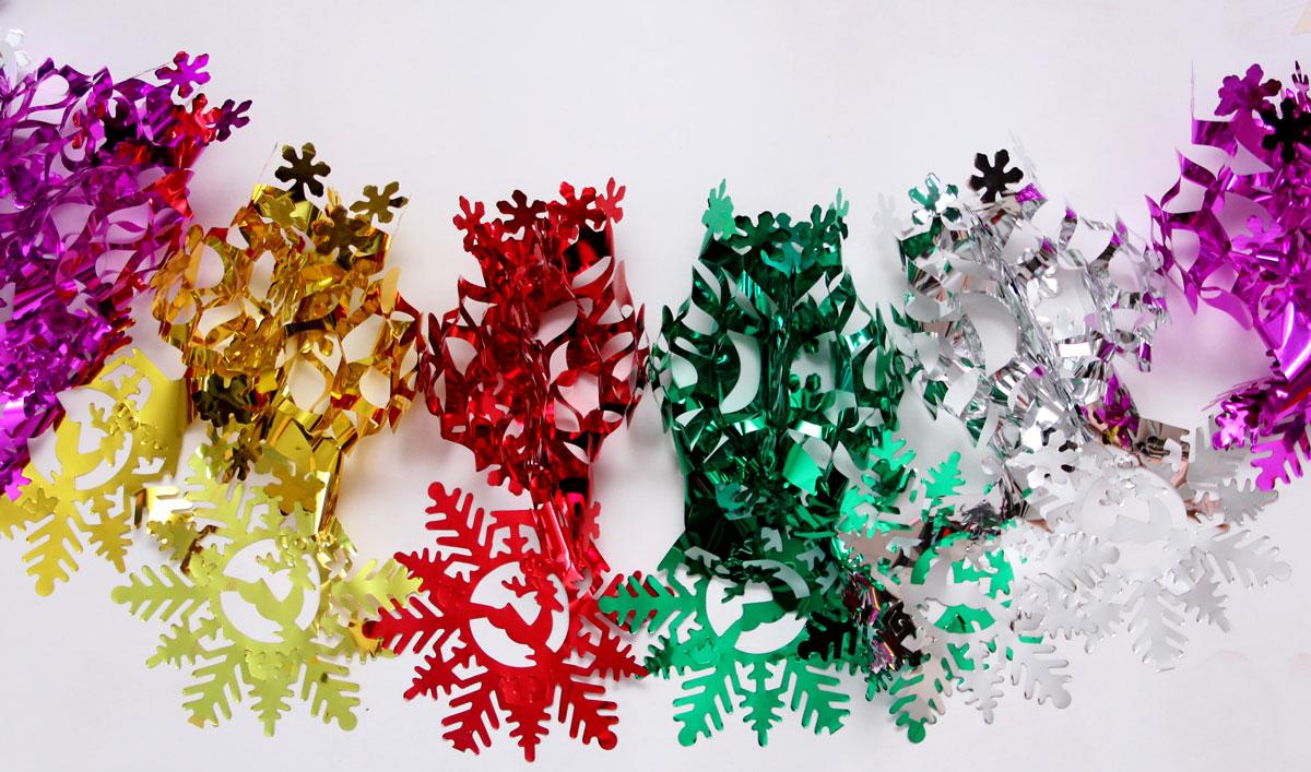 Гирлянда новогодняя Magic Time Снежинки чудесные цветные, 35 х 21 х 200 см украшение елочное гирлянда снежинки 1 шт 120 см в пакете пластик