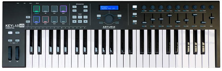 MIDI-клавиатура Arturia KeyLab Essential 49, MCI55702, черный midi контроллер novation launchpad mk2 компактный для ableton live 64 квадратных пэдов цвет черный