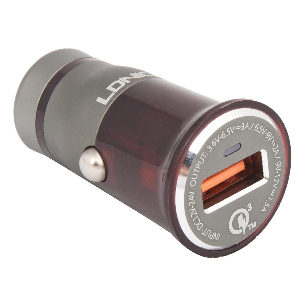 Автомобильное зарядное устройство Ldnio с USB 3,0А Quick Charge 3.0 18W + кабель Apple 8 pin C304Q, Gray