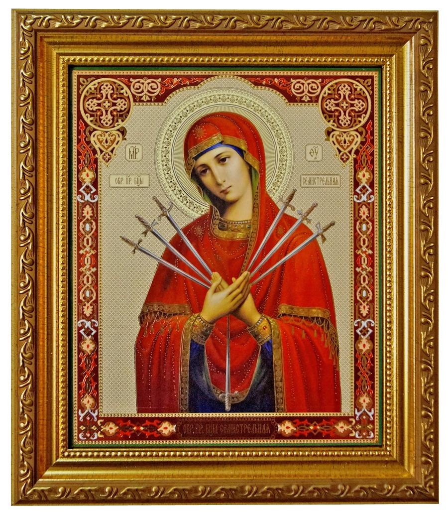 Икона Мастер Рио Семистрельной Божьей Матери, Пластик икона почаевской божьей матери фото