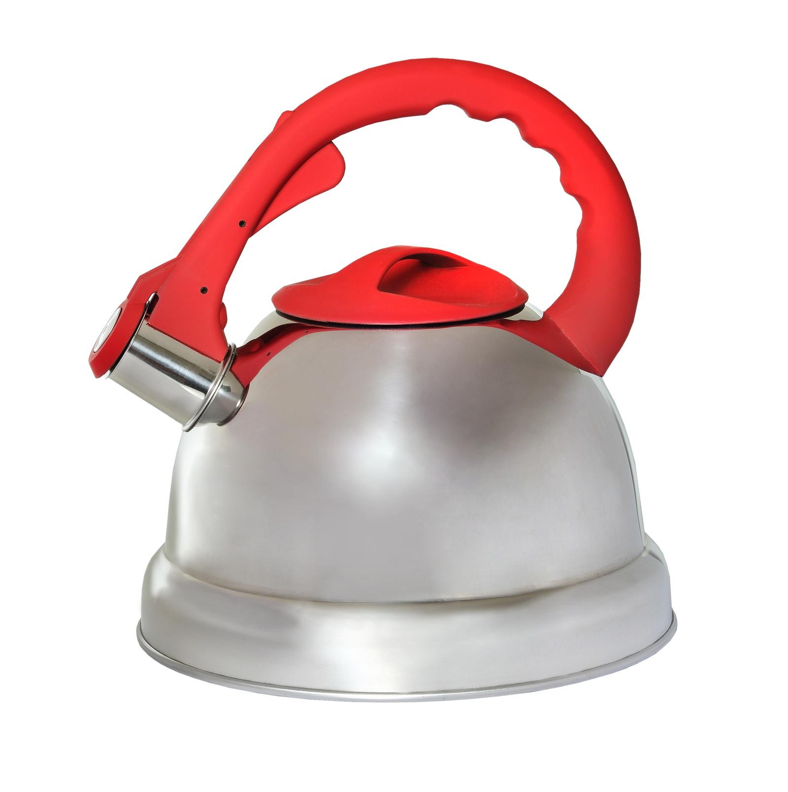 Чайник КС со свистком, 333-RY-4, серебристый, красный, 3.2 л цена