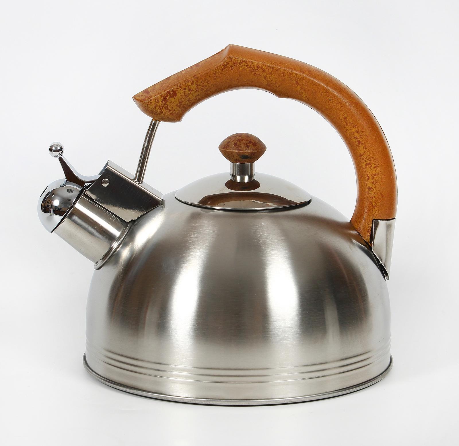 Чайник КС со свистком, 333-RY-10, металлический, коричневый, 2.7 л цена