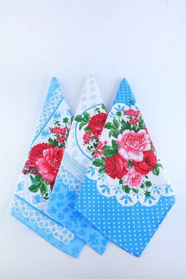 Кухонные полотенца Камея Медальон, 32918, синий, розовый, 10 шт цена