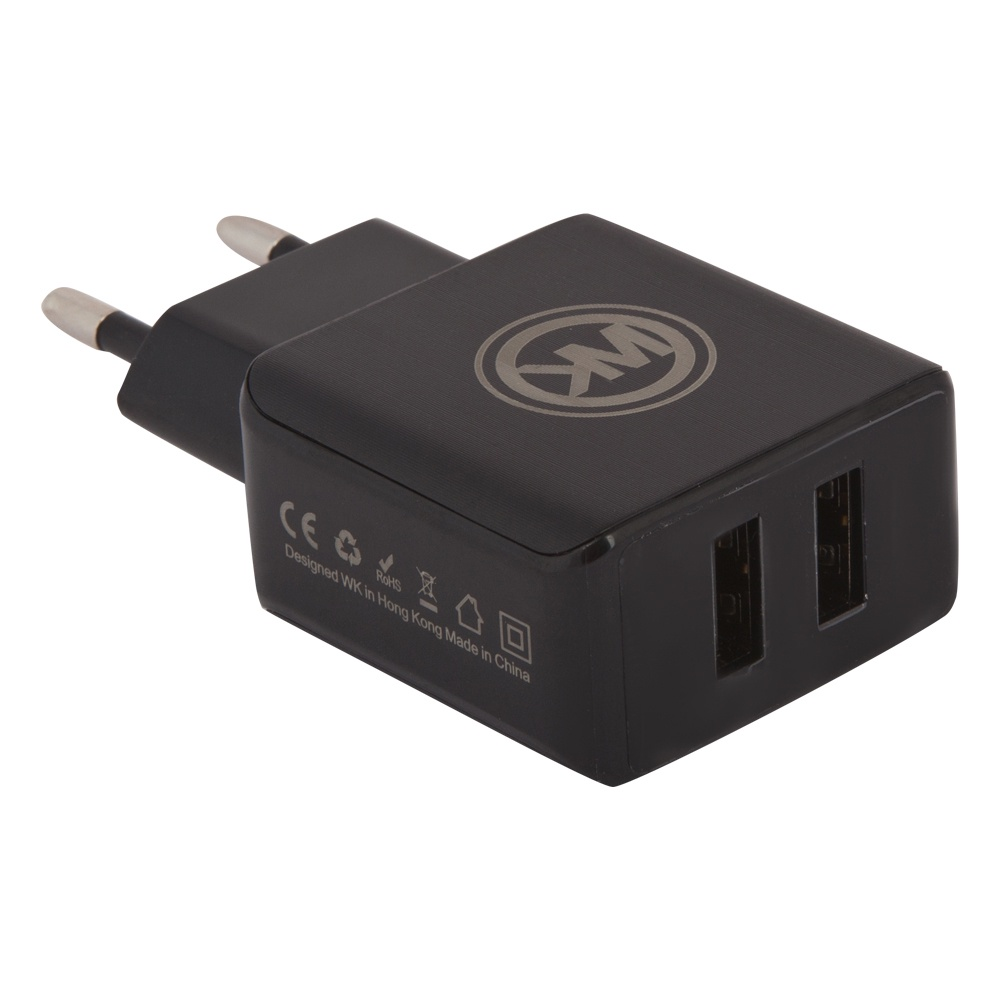 Сетевое зарядное устройство WK Blanc 2U WP-U11 2 USB 2,1А + кабель Apple 8 pin, Black