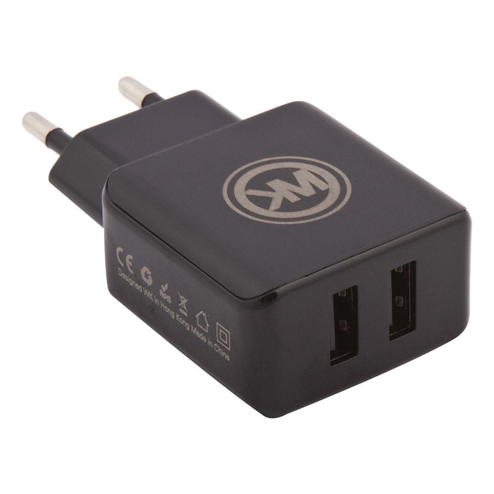 Сетевое зарядное устройство WK Blanc 2U WP-U11 2 USB 2,1А + кабель Micro USB, 0L-00035293, Black