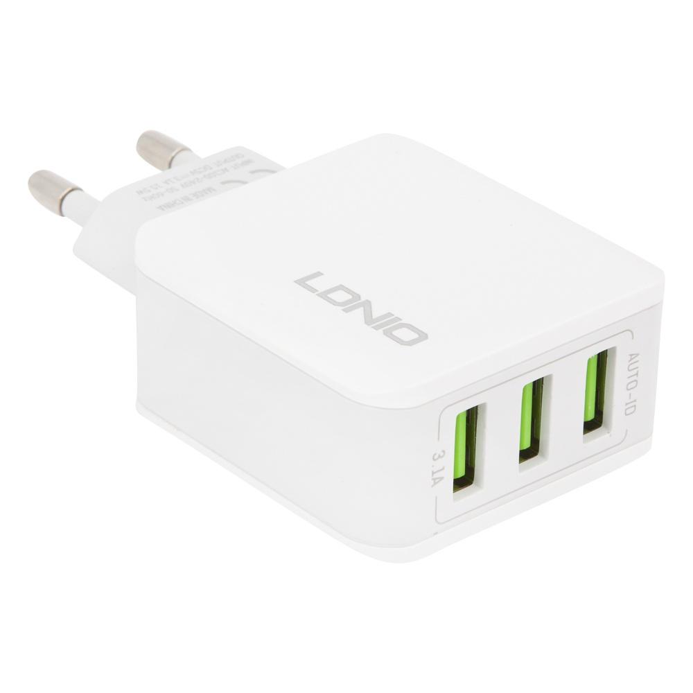 Сетевое зарядное устройство Ldnio 3 USB 3,1А A3301, 0L-00034114, White сетевое зарядное устройство ldnio hoco c11 smart dual usb charger set usb 1 0a 0l 00037574 white