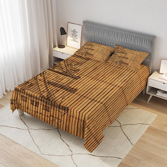"""Покрывало стеганое жаккардовое и 2 наволочки Храм на бамбуке, Евро (220x235 см)bcsl_4730_220x235Комплектация: стеганое покрывало, 2 наволочки. Размер покрывала: 220x235 см. Размер наволочек: 50x70 см. Материал: стеганый трикотаж. Дизайн: """"бамбук, дом, крыши"""". Практичное, красивое и приятное на ощупь стеганое покрывало """"Храм на бамбуке"""" станет модным аксессуаром для спальни, при необходимости заменит одеяло. Материал покрывала состоит из трех слоев: два слоя плотной ткани с плетением жаккард, а между ними проложен теплый и легкий гиппоаллергенный тонкий наполнитель из синтепона. Основные цвета покрывала """"коричневый,черный"""". Покрывало сохраняет форму даже после многочисленных стирок. Стежки создают интересный выпуклый узор, который делает изделие рельефным и придает ему особую элегантность. Стеганое покрывало легко и быстро преобразит интерьер в стиле """"Экостиль"""". Метод сублимационной печати, используемый для создания изображения, гарантирует сохранение рисунка долгие годы без выцветания."""