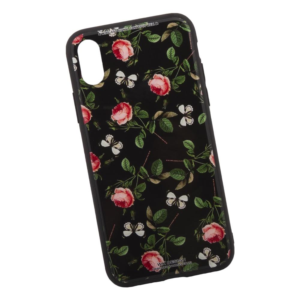 """Чехол WK Azure Stone """"Красные Розы на Черном"""" для iPhone X , 0L-00035662"""