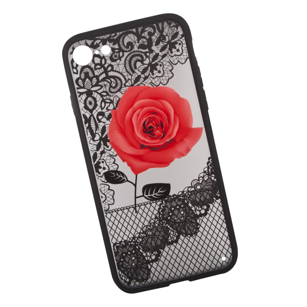 Фото - Чехол LP Роза для iPhone 8/7, 0L-00036263, красный накладка lp клетка с полосками для iphone 7 золотой 0l 00029551
