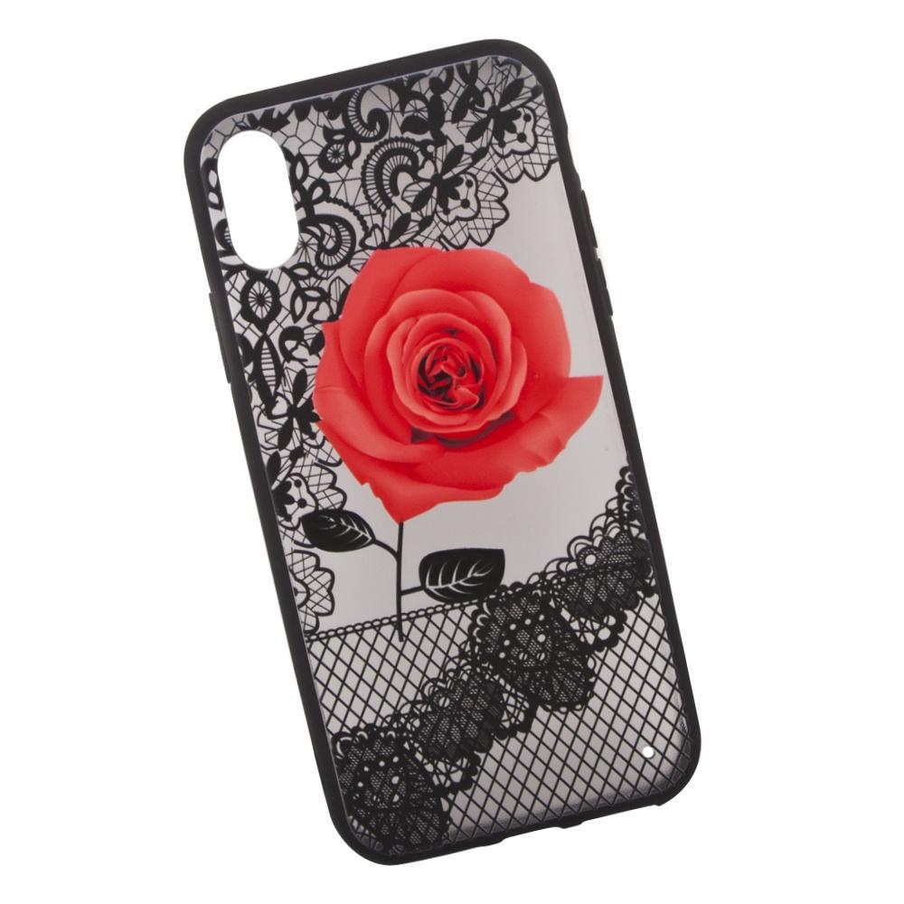 Чехол LP Роза для iPhone X, 0L-00036271, красный чехол lp для iphone x 0l 00038608 коричневый розовый