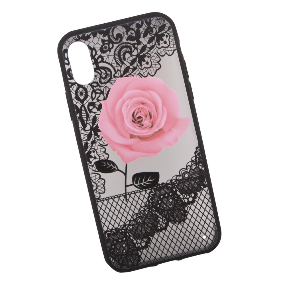 Чехол LP Роза для iPhone X, 0L-00036273, розовый чехол lp для iphone x 0l 00038608 коричневый розовый
