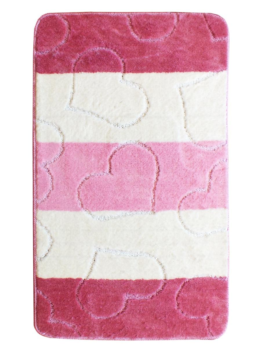 Коврик для ванной PRK, k066, розовый, 60x100 см