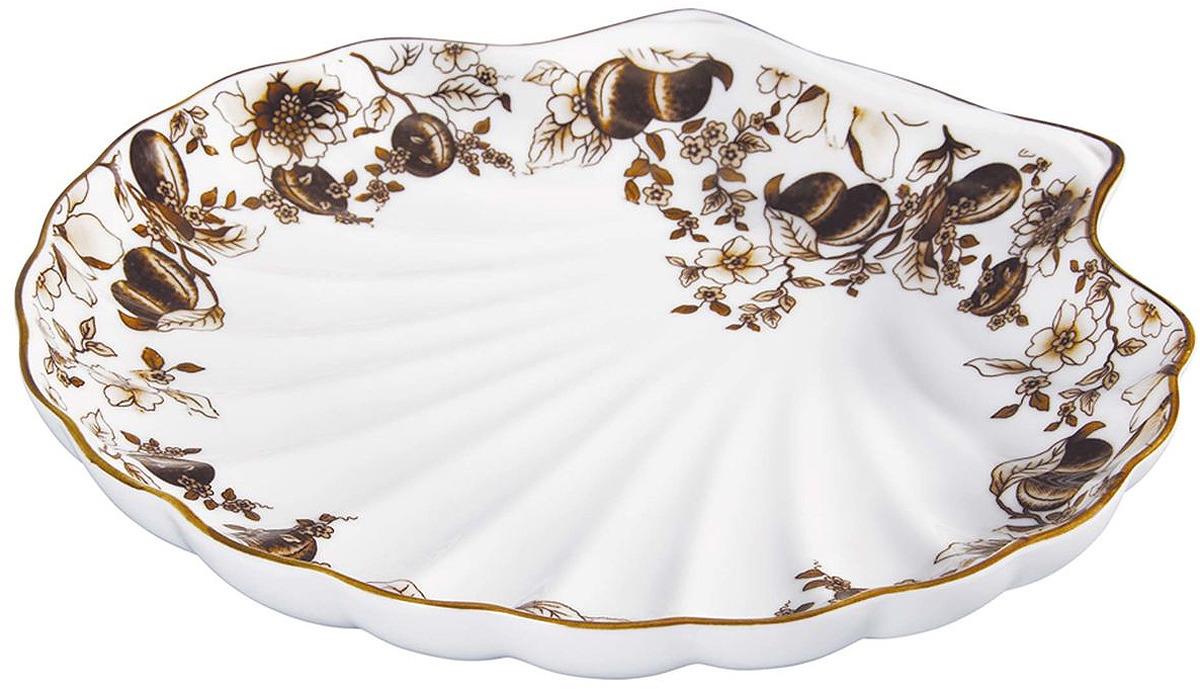 Блюдо Bekker, BK-7005, белый, коричневый, диаметр 26 см