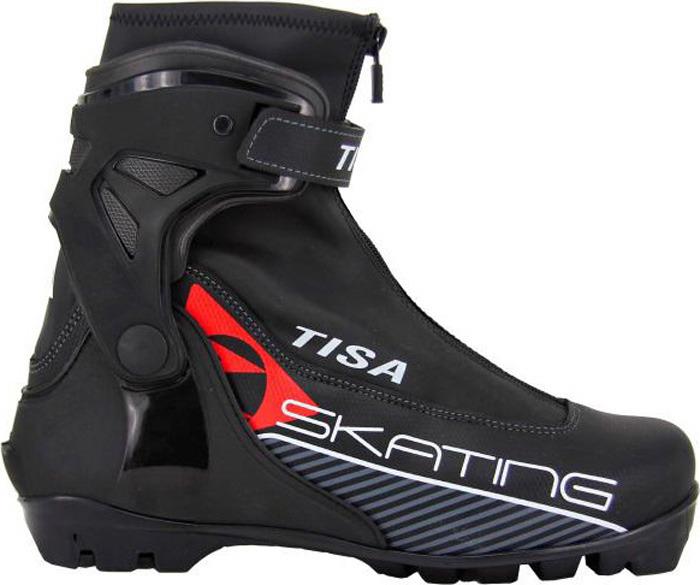 Ботинки лыжные беговые Tisa Skate Nnn, цвет: черный, красный. Размер 44S80018Спортивная модель коньковых ботинок для амбициозных любителей. Эргономичная манжета позволяет индивидуально точно подогнать посадку по ноге, отлично фиксирует голеностопный сустав, гарантирует высочайшую устойчивость и торсионную жесткость. Подошва имеет коньковую жесткость и устойчива на скручивание. Легкий не промакаемый вверх предотвращающей попадания снега и воды внутрь обуви, позволяет ноге свободно дышать, создает максимальный комфорт при эксплуатации. Анатомическая, спортивная стелька обеспечивает дополнительную поддержку стопы для лучшего контроля над движением. Утепленный внутренник ботинка обладает прекрасными теплоизолирующими свойствами, адаптируется по ноге оставаясь при этом легким и комфортным. Система шнуровки внутреннего ботинка позволяет надежно, быстро и просто зафиксировать стопу. Ботинок имеет широкое раскрытие для быстроты и удобства надевания. Пластиковая вставка анатомической формы в пяточной части обеспечивает комфортное облегание ботинок и отличную передачу энергии. Tisa Skate бюджетный спортивный ботинок от современного производителя с высокими показателями торсионной жесткости и уровнем комфорта.