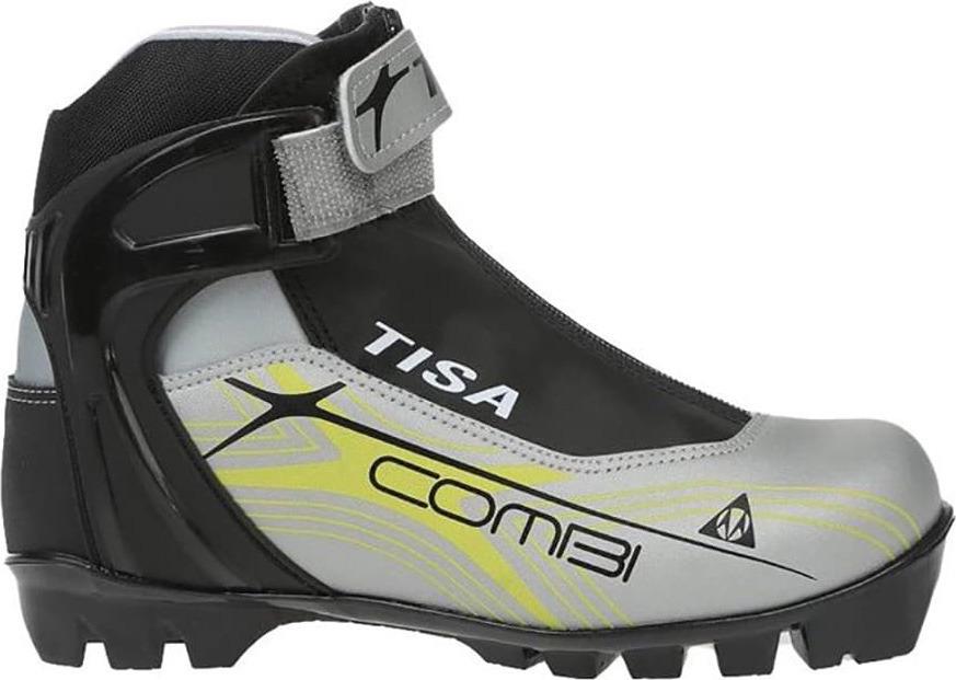 Ботинки лыжные беговые Tisa Combi Nnn, цвет: черный, серый. Размер 40S80118Лыжные ботинки Tisa Combi NNN выполнены из искусственных материалов в классическом стиле и предназначены для лыжных прогулок и туризма. Язык защищен текстильной вставкой на застежке-молнии. Подкладка, исполненная из мягкого флиса и искусственного меха, защитит ноги от холода и обеспечит уют. Верх изделия оформлен удобной шнуровкой с петлями из текстиля. Вставки в мысовой и пяточной частях предназначены для дополнительной жесткости. Манжета Control Cuff поддерживает голеностоп. Подошва системы NNN выполнена из полимерного термопластичного материала. С одной из боковых сторон лыжные ботинки дополнены принтом в виде логотипа бренда.