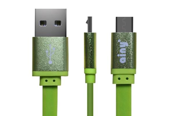 Фото - Кабель Ainy USB, micro USB, 1 м, FA-047H, зеленый запчасти для mp3 плееров