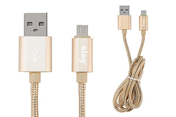 Кабель Ainy USB, micro USB тканевый, 1 м, FA-064L, золотой mp3 плееров explay