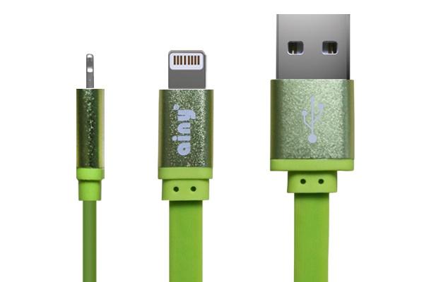 лучшая цена Кабель Ainy USB Apple iPhone 5/5S/5C/6/6Plus/iPad Mini/Air, 1 м, FA-052H, зеленый