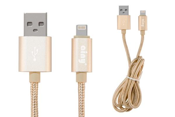 Кабель Ainy USB Apple iPhone 5/5S/5C/6/6Plus/iPad Mini/Air, тканевый, 1 м, FA-060L, золотой кабель gerffins iphone 5 металл золотой