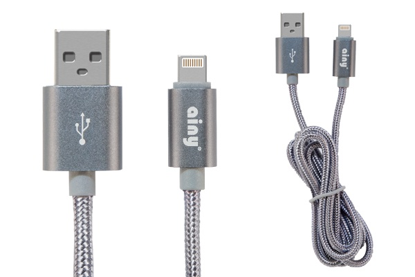 Кабель Ainy USB Apple iPhone 5/5S/5C/6/6Plus/iPad Mini/Air тканевый, 1 м, FA-060K, серый интернет магазин mp3 плееров