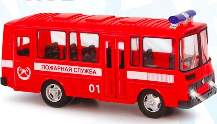 Машинка инерционная Play Smart ПАЗ. Пожарная служба, Р49226 машина инерционная play smart пожарная 1 54