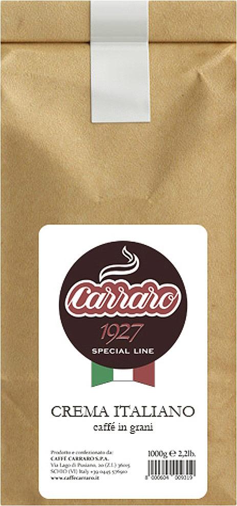 Кофе в зернах Caffe Carraro Crema Italiano, 1 кг jardin crema кофе в зернах 1 кг промышленная упаковка