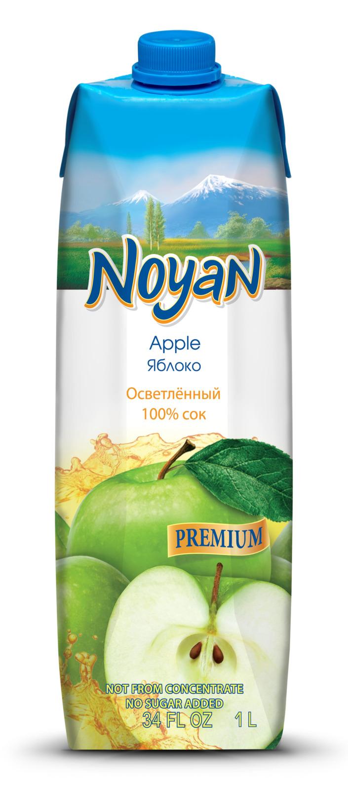 Сок Noyan Premium Яблочный, осветленный, 1 л noyan яблочный сок premium 200 мл