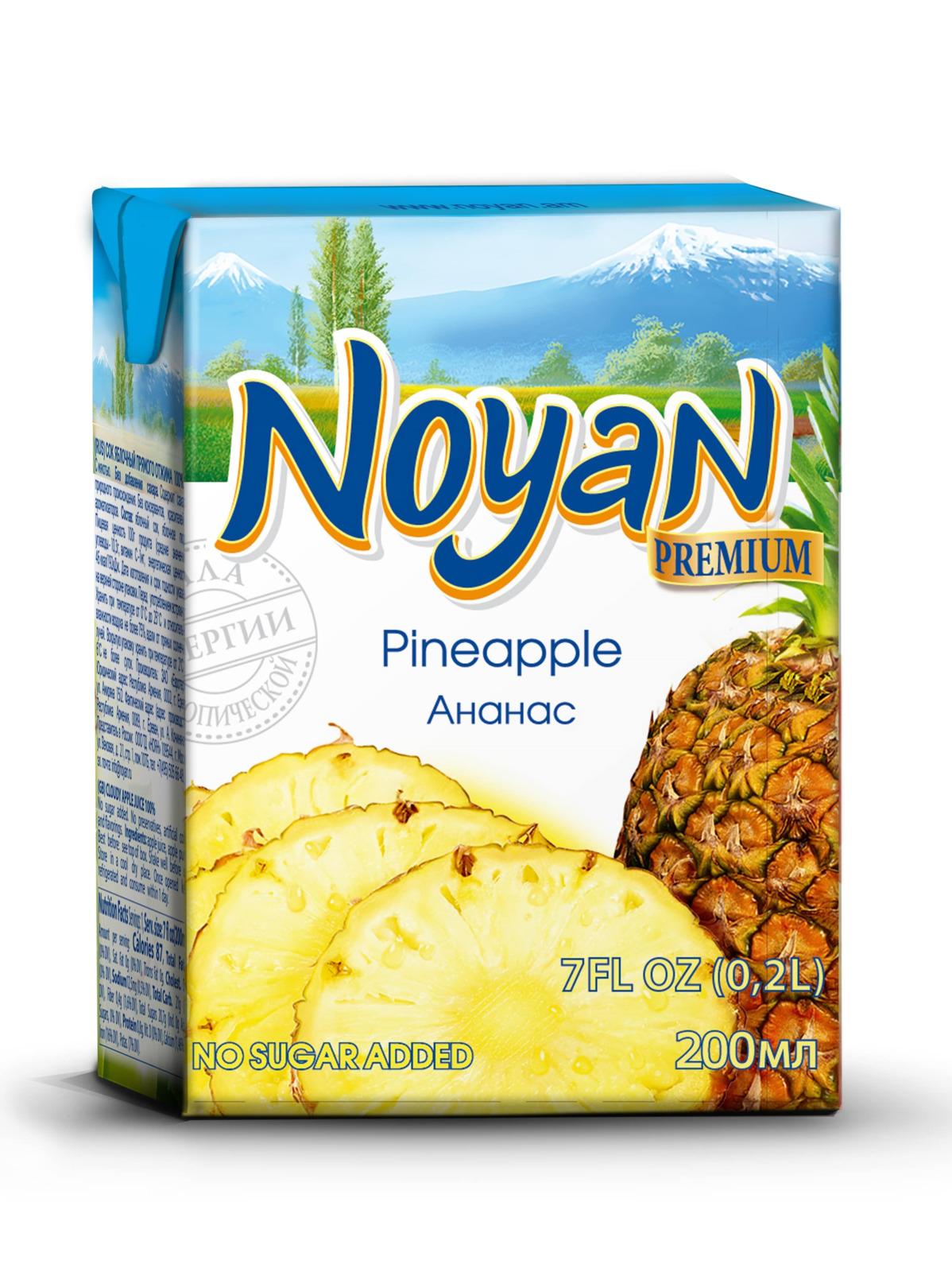 Сок ананасовый Noyan Premium, 200 мл noyan яблочный сок premium 200 мл
