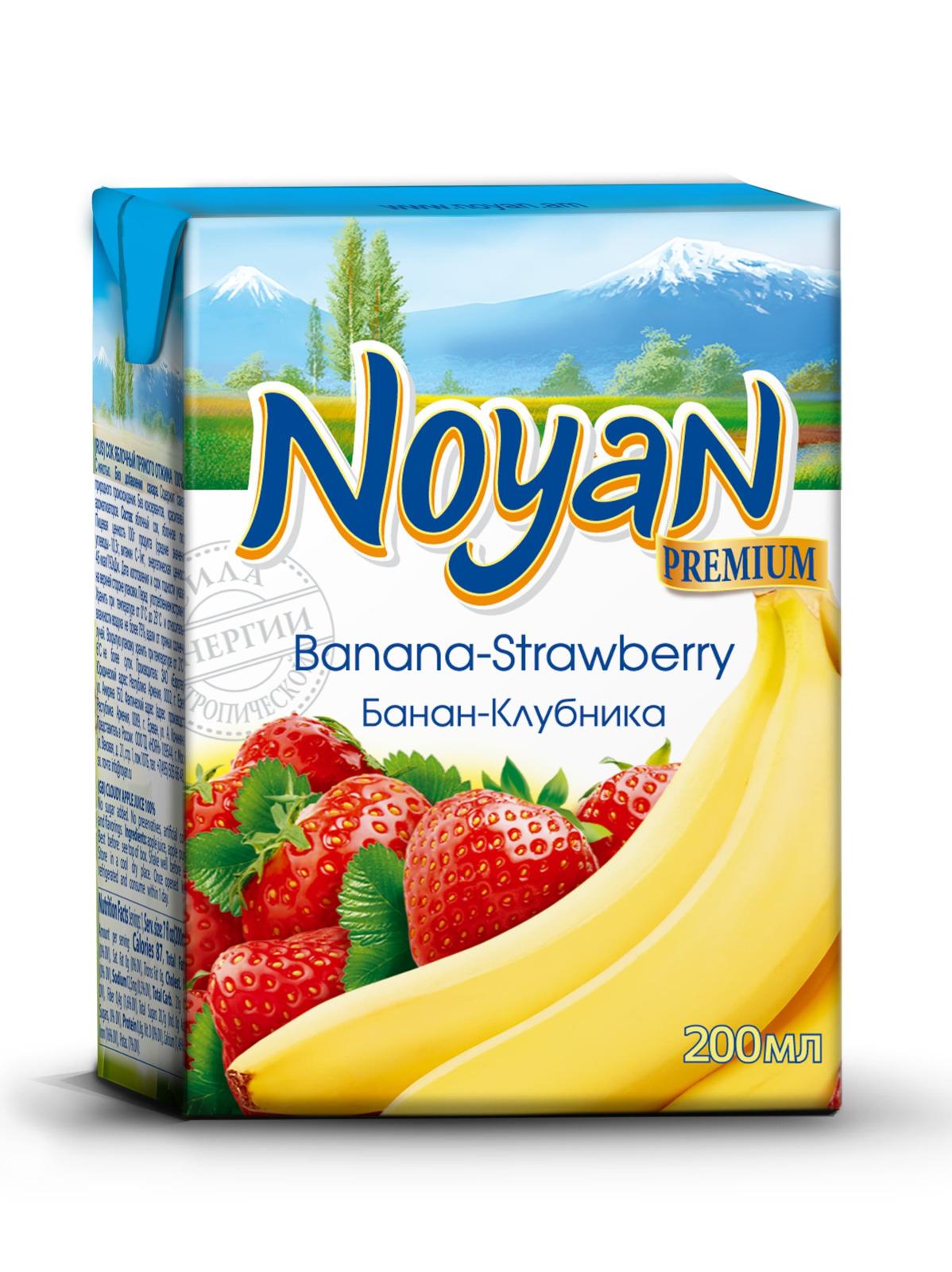 Нектар клубнично-банановый Noyan Premium, 200 мл