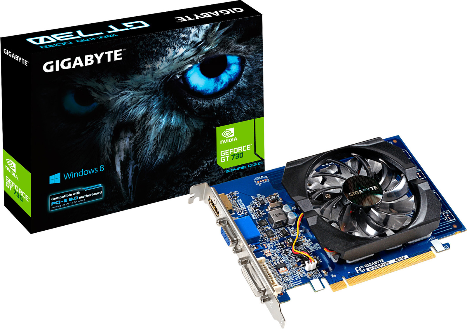 Видеокарта nVidia GeForce GT730 Gigabyte PCI-E 2048Mb, GV-N730D3-2GI видеокарта gigabyte pci e gv n730d5 2gi nvidia