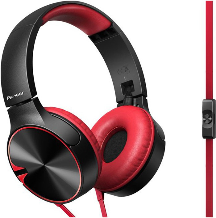 Наушники-вкладыши Pioneer, SE-MJ722T-R, красный, черный цена