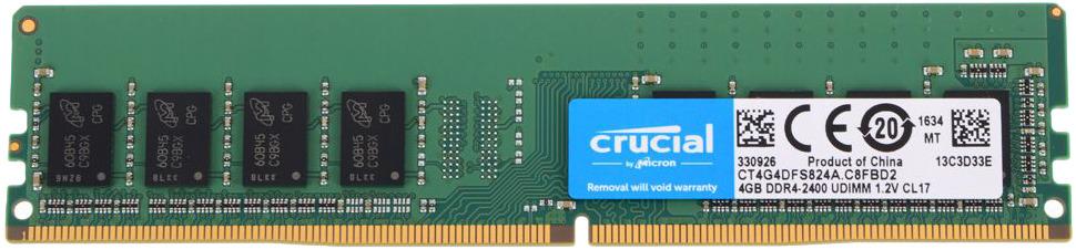 Модуль оперативной памяти Crucial DDR4 4Gb 2400MHz, CT4G4DFS824A модуль оперативной памяти crucial single rank ddr4 8gb 2400мгц