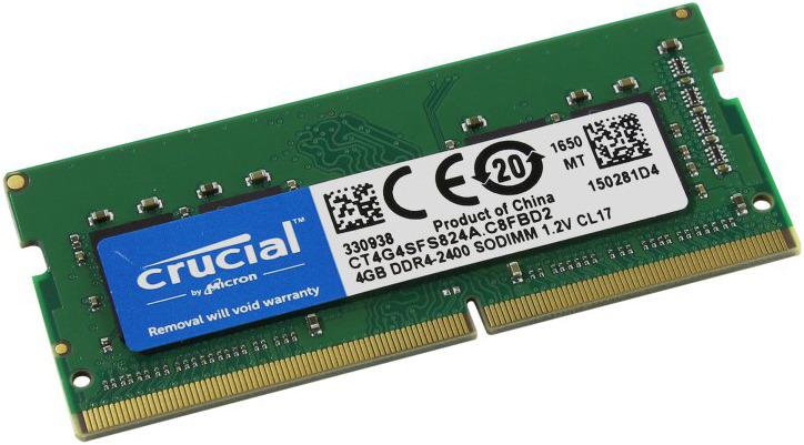 Модуль оперативной памяти Crucial DDR4 4Gb 2400MHz, CT4G4SFS824A модуль оперативной памяти crucial single rank ddr4 8gb 2400мгц