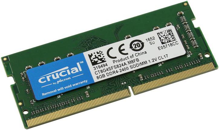 Модуль оперативной памяти Crucial DDR4 8Gb 2400MHz, CT8G4SFS824A цена и фото