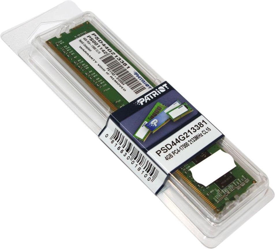 Модуль оперативной памяти Patriot DDR4 4Gb 2133MHz, PSD44G213381 модуль памяти kingston ddr4 dimm 2133mhz pc4 17000 cl15 8gb kvr21n15s8 8