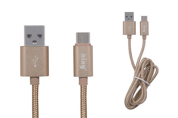 Кабель Ainy USB Type-C тканевый, 1 м, FA-078L, золотой ainy кабель синхронизации с функцией зарядки type c fa 107a черный