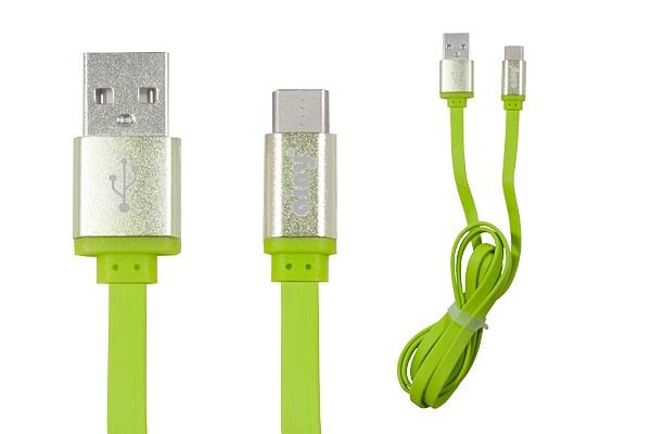 Кабель Ainy USB Type-C, 1 м, FA-107H, зеленый mp3 плееров explay