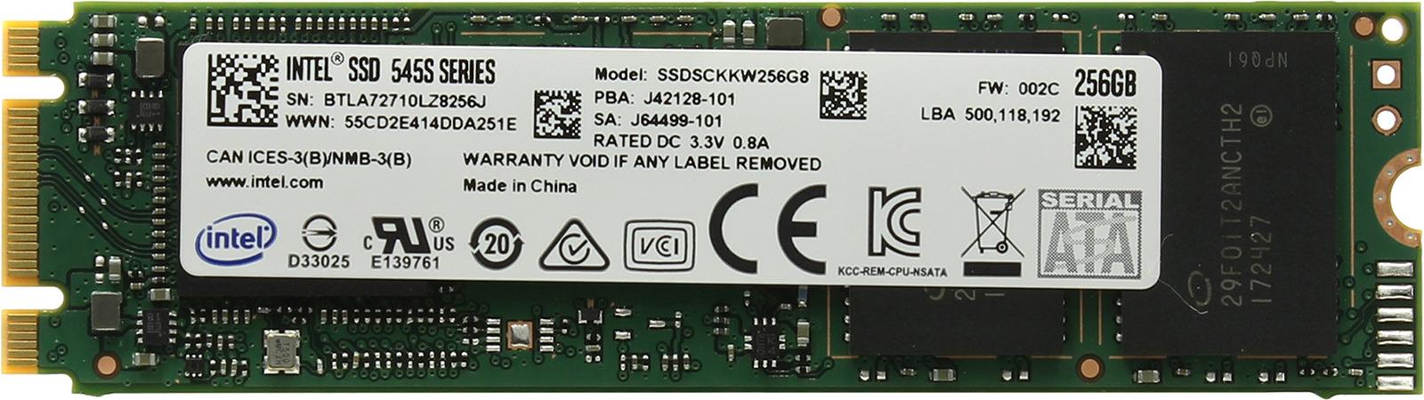 SSD накопитель Intel 545s Series Original 256GB, SSDSCKKW256G8X1 958687 цена и фото