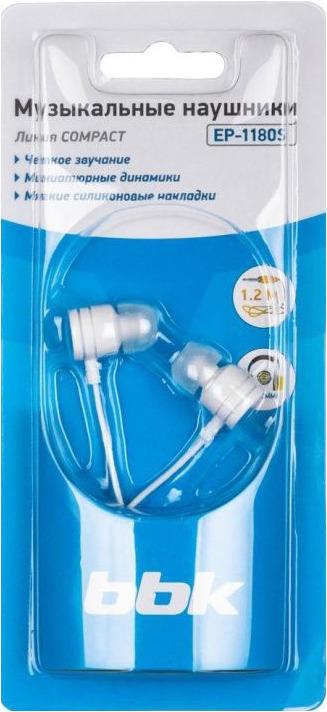 Наушники-вкладыши BBK EP-1180S, 490310, белый bbk ep 1270s white